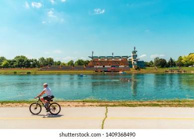 Zagreb / Croatia - 02 June 2018: Kayak rowing competition, Jarun lake.