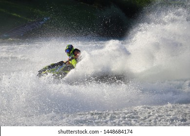 ZAGREB, CROATIA - 06/29/2019: Finals of the AQUABIKE EUROPEAN CONTINENTAL CHANPIONSHIP held in Zagreb on lake Jarun. Adrenaline packed weekend with lots of races and free style performances.
