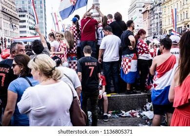 Zagreb, Croatia, 07/16/2018, Celebration of a silver medal on World Championship in the capital city of Croatia  Zagreb