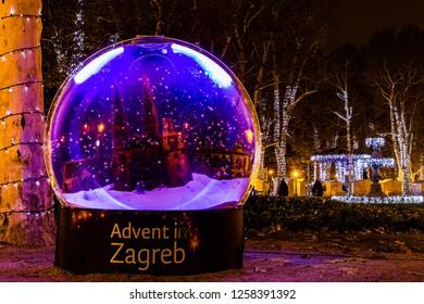 Zagreb, Croatia: 14th December 2018 / Decorated snow ball in Zrinjevac park, Zagreb Advent Best Christmas market in Europe