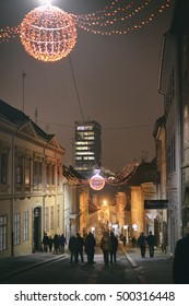ZAGREB, CROATIA - 18 DECEMBER, 2015: Decorated old street. Advent in Zagreb Fair was voted as the European Best Destination for 2016.