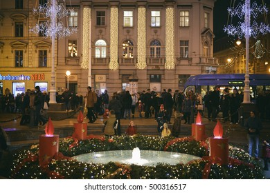 ZAGREB, CROATIA - 18 DECEMBER, 2015: Advent wreath around Maduševac fountain. Advent in Zagreb Fair was voted as the European Best Destination for 2016.