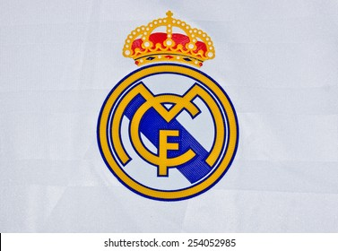ZAGREB , CROATIA - 19 FEBRUARY 2015 - Logo of spanish football club Real Madrid printed on shirt, product shot
