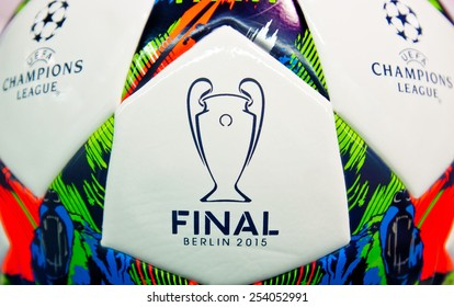 ZAGREB , CROATIA - 19 FEBRUARY 2015 - close up of European UEFA champions league official football from Adidas, product shot