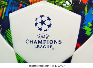 ZAGREB , CROATIA - 19 FEBRUARY 2015 - close up of European UEFA champions league logo on official football from Adidas, product shot