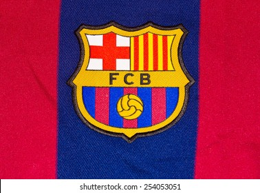 ZAGREB , CROATIA - 19 FEBRUARY 2015 - Logo of spanish football club Barcelona printed on shirt, product shot
