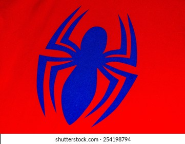 ZAGREB , CROATIA - 19 FEBRUARY 2015 - close up spiderman logo printed on his costume shirt, product shot