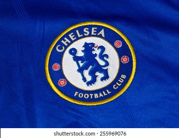 ZAGREB , CROATIA - 19 FEBRUARY 2015 - Logo of english London football club Chelsea printed on shirt, product shot