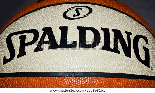 ZAGREB , CROATIA - 19 FEBRUARY 2015 - Close up logo of sport brand Spalding printed on basketball ball , product shot