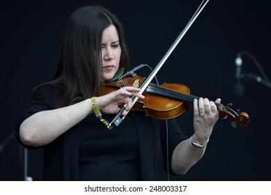 ZAGREB, CROATIA - 24 JUNE, 2014: Flogging Molly violinist Bridget Reagan performing at InMusic Festival.