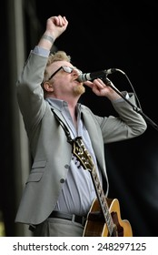 ZAGREB, CROATIA - 24 JUNE, 2014: Flogging Molly singer Dave King performing at InMusic Festival.