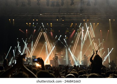 ZAGREB, CROATIA - 25 JUNE, 2013: Arctic Monkeys performing at InMusic Festival.