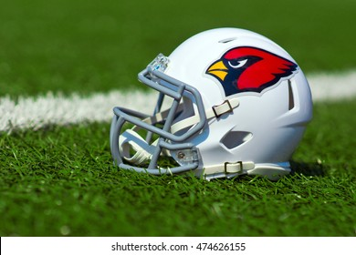 ZAGREB , CROATIA - 27 AUGUST 2016 - NFL Arizona Cardinals replica helmet on artificial grass playing turf , product shot