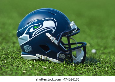 ZAGREB , CROATIA - 27 AUGUST 2016 - NFL Seattle Seahawks replica helmet on artificial grass playing turf , product shot