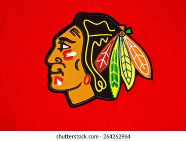 ZAGREB , CROATIA - 27 March 2015 - NHL hockey club Chicago blackhawks logo printed on jersey , product shot