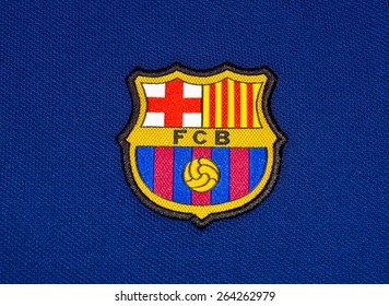 ZAGREB , CROATIA - 27 March 2015 - Spain football club Barcelona logo printed on blue jersey , product shot