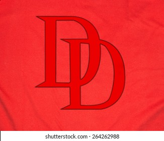 ZAGREB , CROATIA - 27 March 2015 - Close up logo of Daredevil , Marvel superhero comic books character printed on shirt or costume , product shot