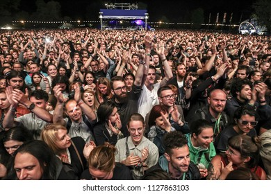 ZAGREB, CROATIA - 27th June, 2018 : Audience during performance of American rock band Interpol on the Main stage during the 13th INmusic festival located on the lake Jarun in Zagreb, Croatia.