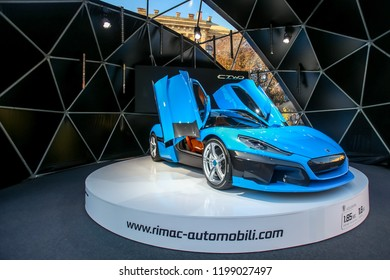 Zagreb, Croatia - 28 September, 2018 : Presentation of Rimac new electric hypercar C Two model with open doors on Strossmayer square.