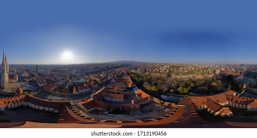 Zagreb, Croatia - April 02, 2020 : Stiched drone 360 panorama of Cathedral belfries damaged in an earthquake that hit Zagreb during Covid-19 quarantine.