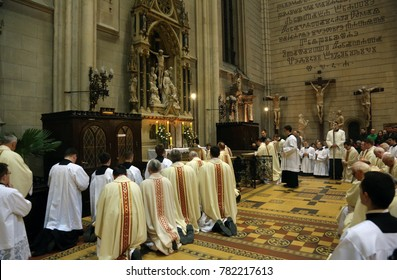 ZAGREB, CROATIA - APRIL 02: Holy Thursday, Mass Lord's Supper in Zagreb Cathedral, led by Cardinal Josip Bozanic, Archbishop of Zagreb