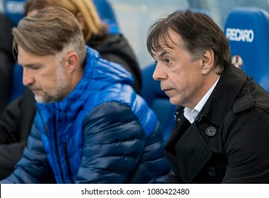 ZAGREB, CROATIA - APRIL 04, 2018: Croatian First Football League game between GNK Dinamo VS HNK Rijeka. In action