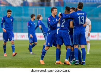ZAGREB, CROATIA - APRIL 04, 2018: Croatian First Football League game between GNK Dinamo VS HNK Rijeka. Players celebrating goal