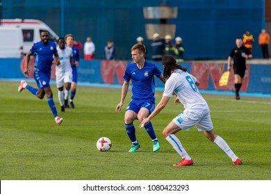 ZAGREB, CROATIA - APRIL 04, 2018: Croatian First Football League game between GNK Dinamo VS HNK Rijeka. In action Dani OLMO (7) and Lovre GRBIC (8)