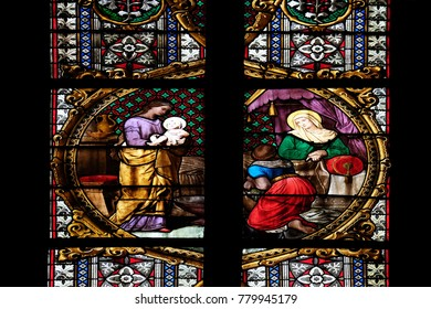 ZAGREB, CROATIA - APRIL 04: Birth of the Virgin Mary, stained glass in Zagreb cathedral dedicated to the Assumption of Mary in Zagreb on April 04, 2015