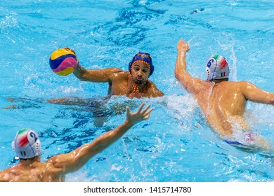 ZAGREB, CROATIA - APRIL 07, 2019: FINA Water Polo WORLD LEAGUE EUROPA CUP 2019. Italy vs. Spain. Players in action