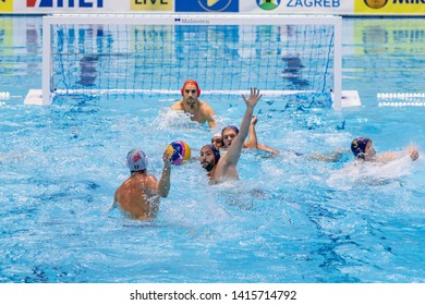 ZAGREB, CROATIA - APRIL 07, 2019: FINA Water Polo WORLD LEAGUE EUROPA CUP 2019. Italy vs. Spain. In action VELOTTO Alessandro (6) shoots on the goal