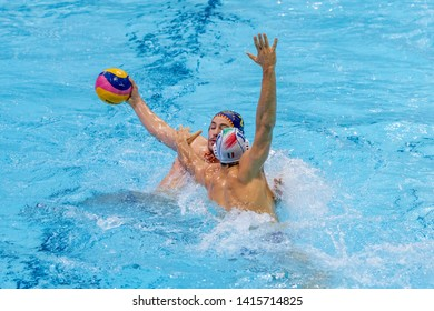ZAGREB, CROATIA - APRIL 07, 2019: FINA Water Polo WORLD LEAGUE EUROPA CUP 2019. Italy vs. Spain. In action MUNARRIZ EGANA Alberto (2) and AICARDI Matteo (11)