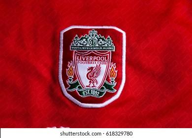 ZAGREB, CROATIA - APRIL 10, 2017. - English football club FC Liverpool emblem on football jersey.