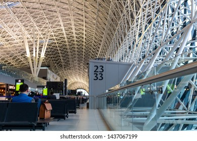 Zagreb, Croatia - April 11, 2019: People waiting in the boarding area of the new terminal at Zagreb Franjo Tuđman international airport