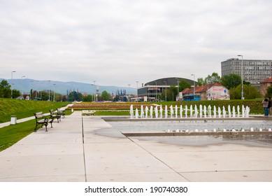 ZAGREB, CROATIA - April 12, 2014 - City park with fountains, Bandiceve fountains.