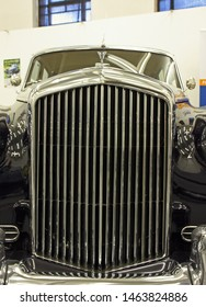 ZAGREB, CROATIA – APRIL 13, 2018: Front mask of Bentley S1 from 1957, was a luxury car produced by British manufakturer Bentley Motors Limited, Croatia