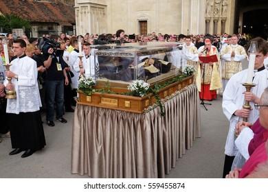 ZAGREB, CROATIA - APRIL 16: Arrival of the body of St. Leopold Mandic in Zagreb Cathedral, Croatia on April 16, 2016.