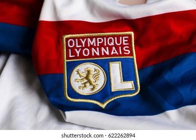ZAGREB, CROATIA - APRIL 17, 2017. - French football club Olympique Lyonnais emblem on football jersey.