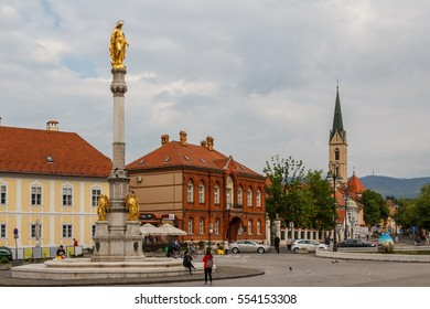 ZAGREB / CROATIA - APRIL 2014: Square with monumental column in Zagreb, Croatia