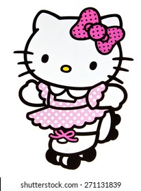 ZAGREB , CROATIA - April 20th , 2015 :  Hello kitty children cartoon character stickers  ,product shot
