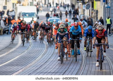 ZAGREB, CROATIA - APRIL 23, 2017: Bicycle race Tour of Croatia 2017. Cyclists driving the last stage in city of Zagreb