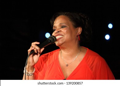 "ZAGREB, CROATIA - APRIL 27: Deborah J. Carter, American singer, composer and arranger, performed in VIP Club in the ""All Women Jazz Festival - Jazzarella"" on April 27, 2013 in Zagreb, Croatia."