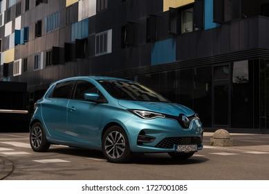 ZAGREB, CROATIA - APRIL 28, 2020: New Renault Zoe electrical car. New modern technology.