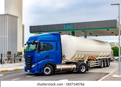 Zagreb, Croatia - April 28, 2020: Iveco Stralis S460 CNG (compressed natural gas) powered long haul truck refueling on a CNG  station. CNG is the cleanest burning alternative fuel available.