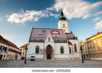 Zagreb, Croatia - April 9, 2014: St. Mark's Church in Zagreb, Croatia.