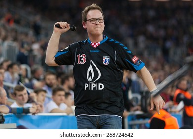 ZAGREB, CROATIA - APRIL 9, 2015: EHF Men's Champions League - Quarter final match between HC Zagreb PPD and HC Barcelona. Official speaker hearing for Zagreb.