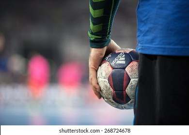 ZAGREB, CROATIA - APRIL 9, 2015: EHF Men's Champions League - Quarter final match between HC Zagreb PPD and HC Barcelona. Detail of Zagreb's player holding the ball.