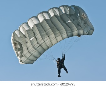 ZAGREB, CROATIA - AUG 29: A parachutist performing at Zagreb Air Show 2010  on Aug 29, 2010 in Zagreb, Croatia. The air show is held in celebration of a century of aviation  in Croatia.