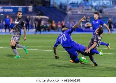ZAGREB, CROATIA - AUGUST 06, 2017:  Croatian First Football League game between GNK Dinamo VS HNK Hajduk. Junior FERNANDES (78) and Josip JURANOVIC (17) in action