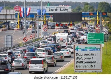 ZAGREB, CROATIA - August 11th, 2018 : Big traffic jam due to the large number of tourists going to the sea coast of Croatia in the Lucko highway toll in Zagreb, Croatia.